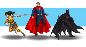 Batman, Superman, Wonder Woman redesigns by wildcard24