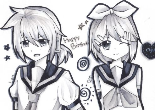 HBD Kagamine Twins! by ming-zi