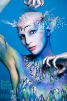Snow queen bodypaint comp dark elf ice ballet by Bodypaintingbycatdot