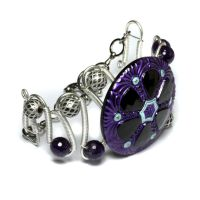 Cyber Steampunk Purple Urchin Bracelet by CatherinetteRings