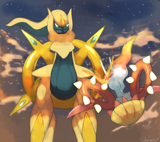 Commission Arceus vs Solaraxy by Phatmon66