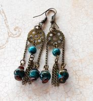 Steampunk Dream Catcher Earrings by random-wish