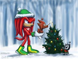 Knuckles and chao at Christmas by NetRaptor