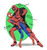 Commission_Spidey X Deadpool by royudai