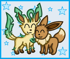 Leafeon and Eevee by SHINXxPOOCHYENA