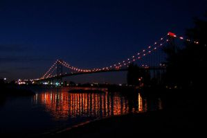 Ambassador Bridge at night by dogman63