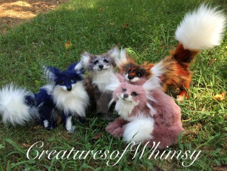 Four little colorful foxes! by creaturesofwhimsy