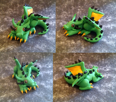 Glitter Green, Black and Gold Dragon by Alexandrite-Dragons