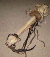 Wolf skull and fur rattle 4 by lupagreenwolf