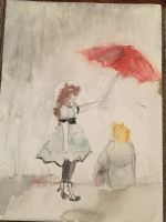 Gray skies and a red Umbrella by LunarWolfGirl01