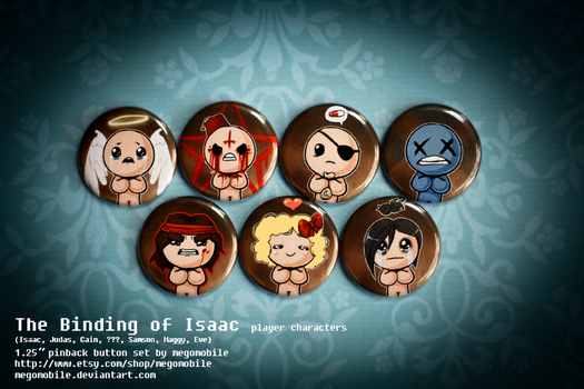 the Binding of Isaac player character buttons by megomobile