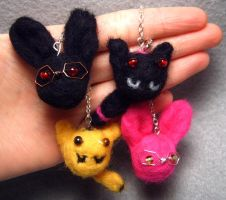 Needle Felted Tiger and Bunny Charms by wickedorin