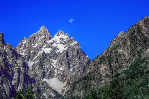 The Moon Over The Tetons by RayM0506
