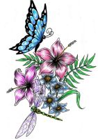 dragonfly buterfly flower design by Shadow3217