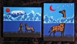 Zebras and Giraffe (paintings) by Kimi-Parks