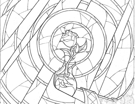 Stained Glass Rose Coloring Page by Richard67915