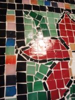 Red orchid glass tile mosaic on a cement paver 2 by Amazinadrielle