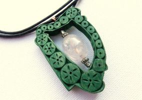 CELTIC HARP PENDANT with quartz by MassoGeppetto