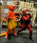 charizard and pokemon trainer deadpool by DanteJackpot