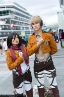 SnK - Jean and Mikasa by SoftBells