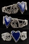Sterling Silver and Lapis Heart Bracelet by sylva