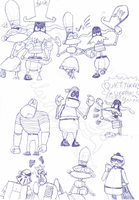 Sketches of robo-pirates by SailorRaybloomDZ
