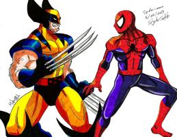 Wolverine Vs Spiderman by MikeES