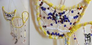 Yellow Cat Dreamcatcher by mexicocitykitty