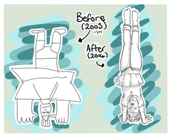 Handstands plus skirts equal bad idea by Beckie-Tenshi-Chan