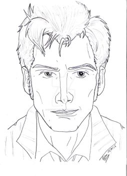 Pencil Portrait - The Doctor (David Tennant) by OptimumBuster