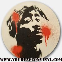 Tupac stencil on vinyl by vinnikiniki
