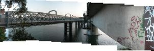 Between The Bridges: Panorama by Seans-Photography
