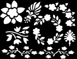 floral stencil stock by DemoncherryStock