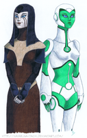 Illana and Aya sketch - color by Russockshitha
