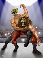 Tiger Mask VS Lion Man by Richeart