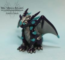 Purple Blue and Silver Polymer Clay Dragon by MiniMythicalMonsters