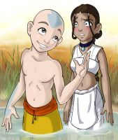 Aang and Katara by MiraElizabeth