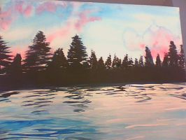 Lake Landscape Painting by flute-art