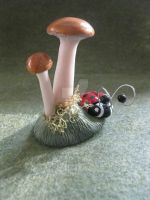 Ladybug with mushrooms and moss by ArtistinWonderland