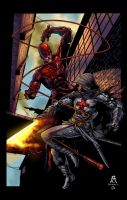 Daredevil vs Azrael by spidey0318