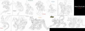 Zoids- 13 Brush Gods Sketches by MidnightLiger0