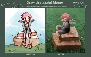 Draw this again meme: birb by Ekkoberry