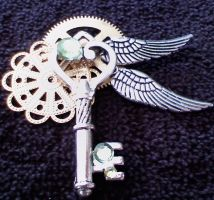 Green Steampunk Key Pendant by dreamersparadise