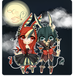 The Rabbits and the Moon {SOLD} by chuguri