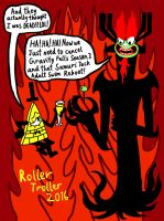 Bill Cipher and Aku: The Trolls of Evil! by RollerTroller699
