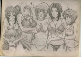 Sekirei Bikini pencil drawing c: by Gizengar