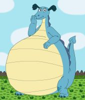 Reluctant Dragon with big belly for Kitsune-Kuppa by MCsaurus