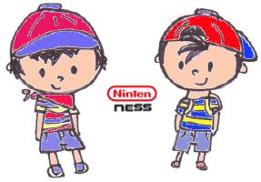 Ninten and Ness - Colored by Tsuchi-Ookami-Kun
