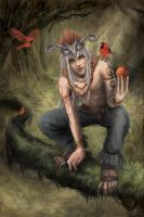 Shaman and birds by Loreen