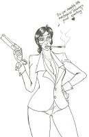 TF2- Rule 63 Lady Spy Lineart by gatta-demonia